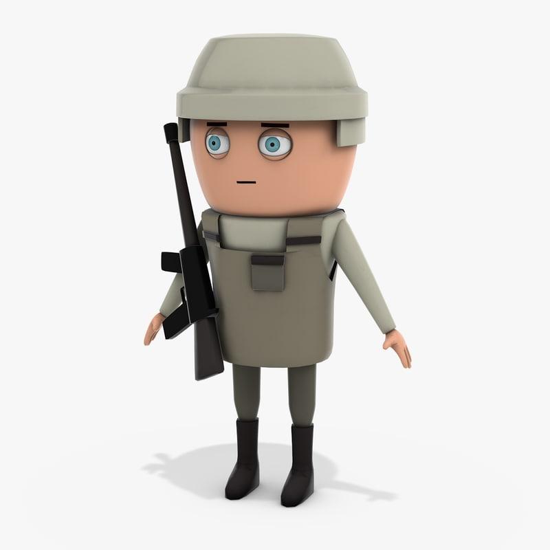 3D cartoon soldier