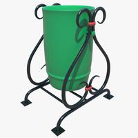 3D trashcan ashcan model