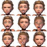 facial rig 3D model