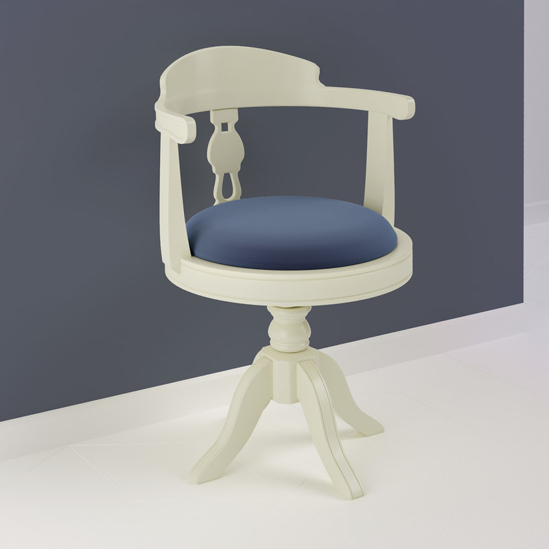 3D white ivory classic chair model