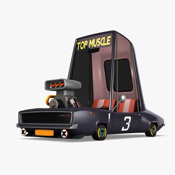 cartoon muscle car model