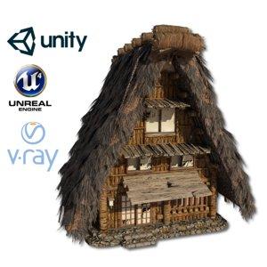 shirakawago village set house 1 3D model