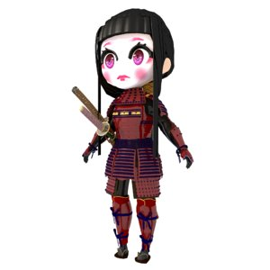 chibi geisha samurai armor 3D model