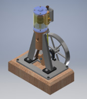 3D model vertical single cylinder steam engine