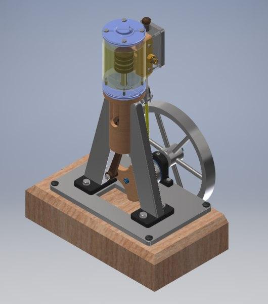 3D model vertical single cylinder steam engine