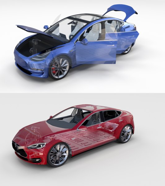 pack tesla 3 s interior 3D model