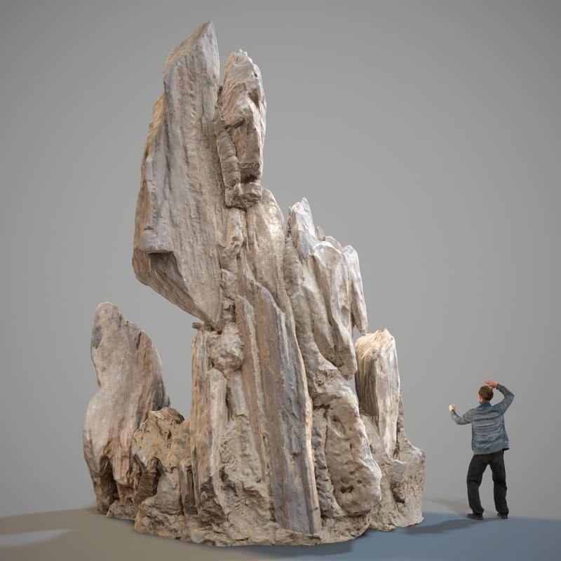 3D scanned landscape rocks stones model