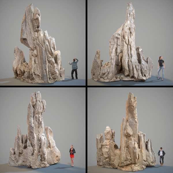 scanned landscape rocks stones 3D model