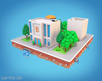 Cartoon City Block Burger Cafe Bank Low Poly