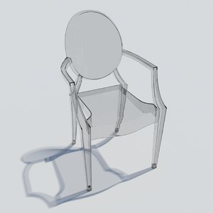 3D kartell louis ghost armchair model