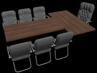 3D model conference office table chairs