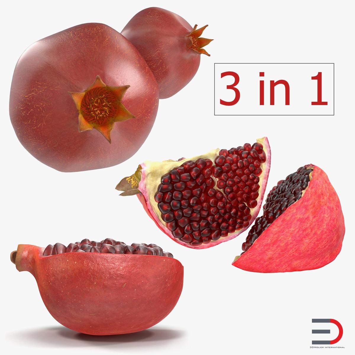 3D pomegranate set slice model