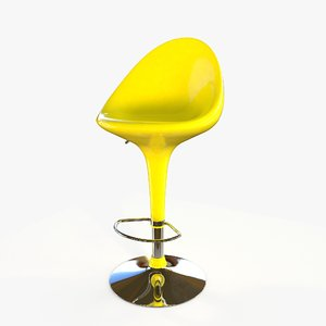 bar chair yellow 3D model