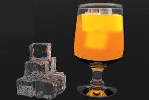 3D smooth ice cubes orange juice model