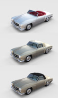 3D pack mercedes 190sl interiors model