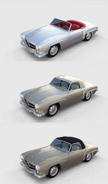 3D pack mercedes 190sl interiors model