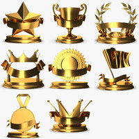 3D gold trophys pack 1