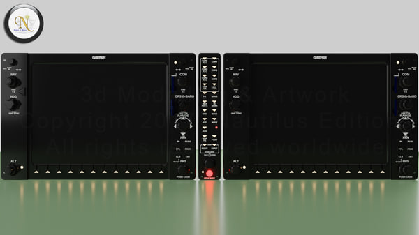 g1000 garmin glass panel 3D model