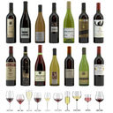 Wine Set of 14 bottles and 12 different wine glasses, tray, wine holder \ stand (Vray and Corona render)
