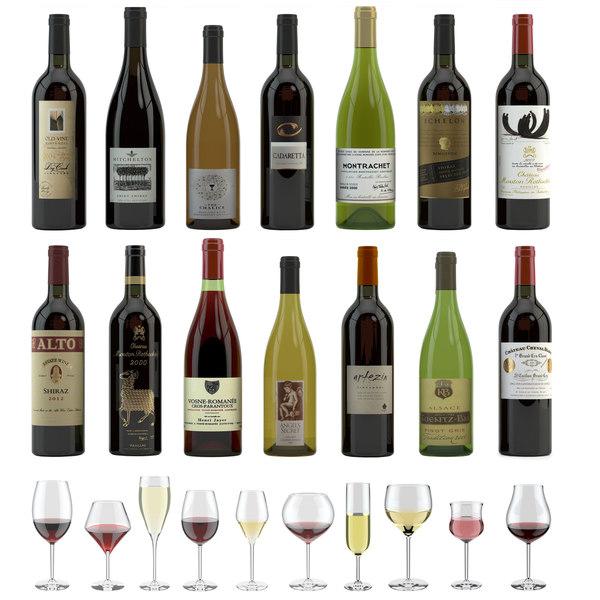 14 different bottles 12 3D model