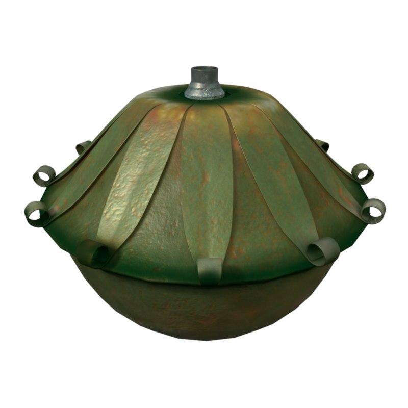 3D model modeled lamp