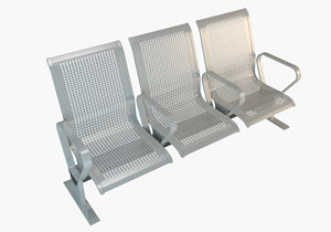 3D waiting seat chair model