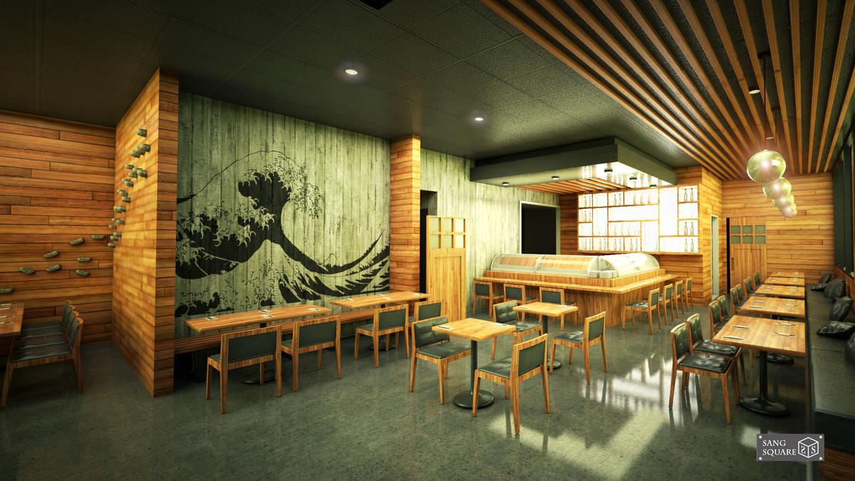 japanese sushi restaurant 3D