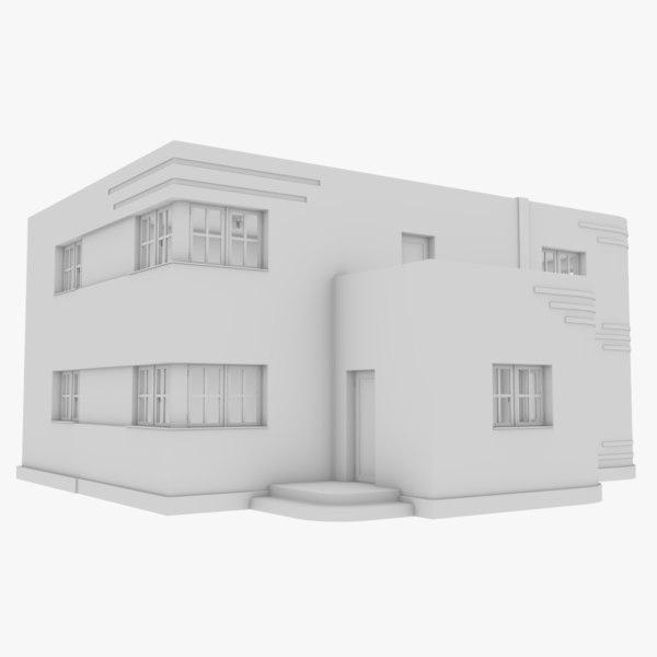 streamline moderne home interior 3D