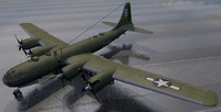 3D plane b-29 superfortress bomber