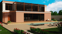 villa floor coridor 3D model