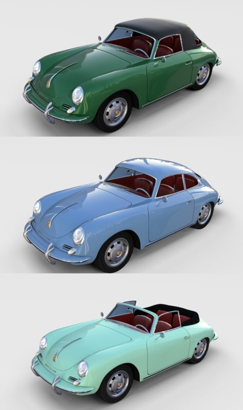 pack porsche 356 interiors model