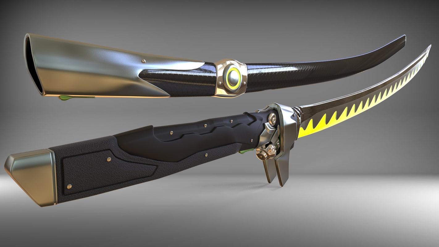 katana dragon sword 3D model