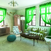 3D green living room