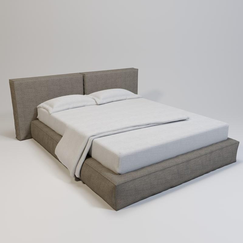 3D double loft bed model