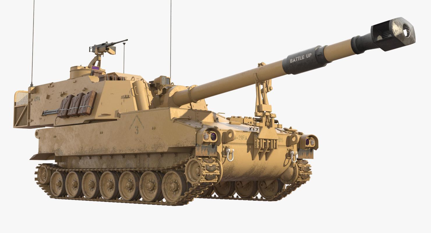 m109a6 paladin tank track 3D model