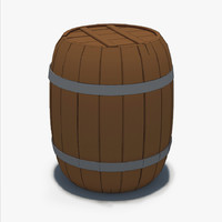 cartoon wooden barrel model