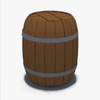 cartoon wooden barrel model