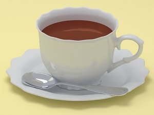 cup spoon saucer 3D