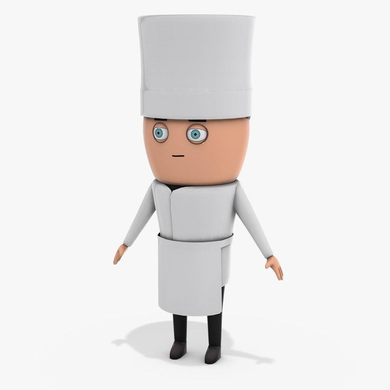 cartoon chef 3D model