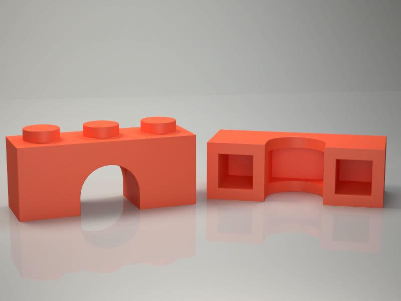 3D lego brick arch 1x3