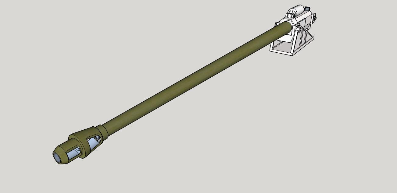 90 mm l-68 tank gun 3D model