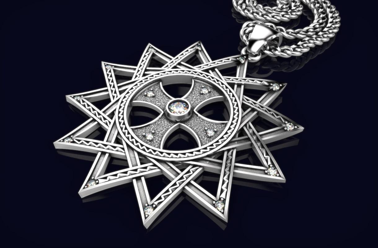 3D cross necklace gold 206