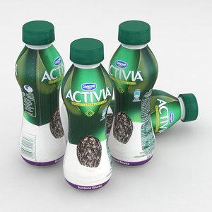 3D dairy bottle danone activia model