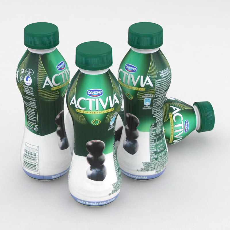 3D model dairy bottle danone activia