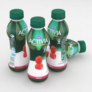 3D dairy bottle danone activia