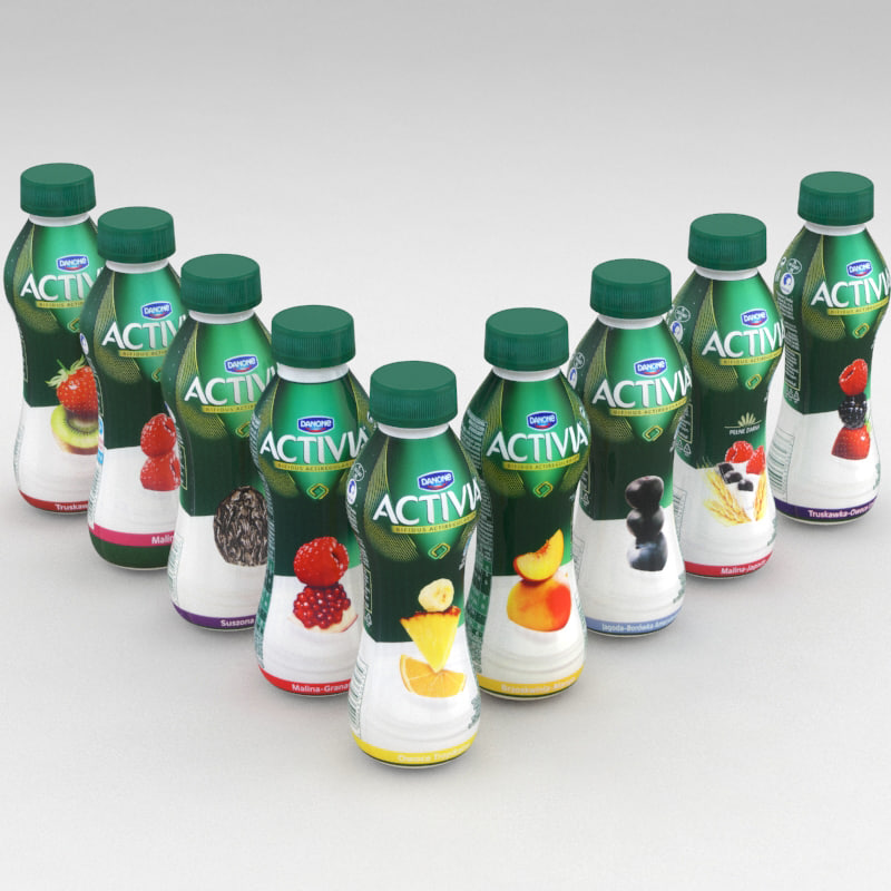 dairy bottle danone activia 3D model