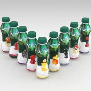 dairy bottle danone activia 3D model