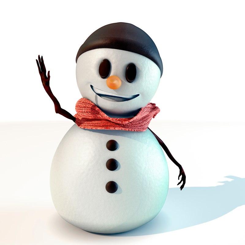 3D snowman character rigging