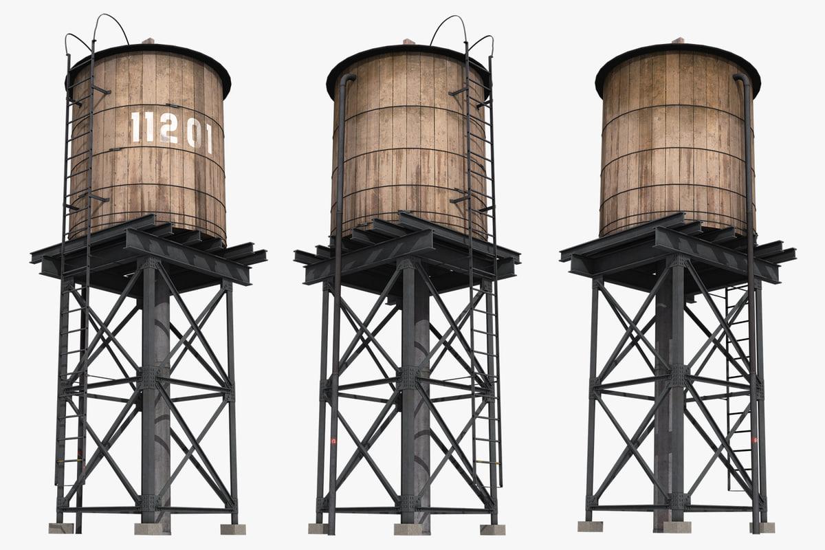new york water tank 3D model