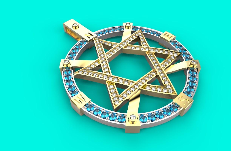 3D star david necklace 186 model